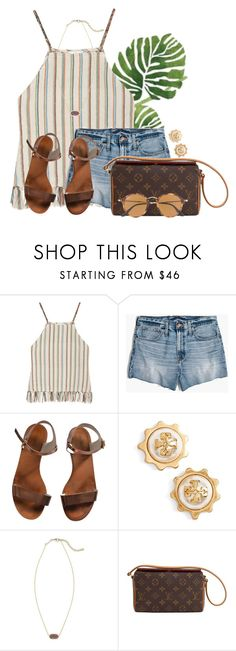 """QOTD: What's your favorite shoe brand?"" by flroasburn ❤ liked on Polyvore featuring Miguelina, Madewell, Emporio Armani, Tory Burch, Kendra Scott, Louis Vuitton and Ray-Ban"