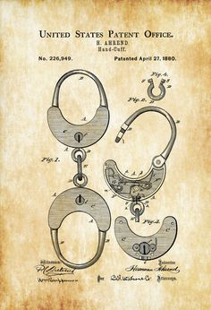 1880 Handcuff Patent - Patent Print Wall Decor Bizarre Art Bizarre Decor Medical Equipment Restraint Patent Law Enforcement Gift by PatentsAsPrints