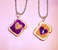 Best Friends Necklaces Peanut Butter and Jelly by kawaiidesune, $25.00
