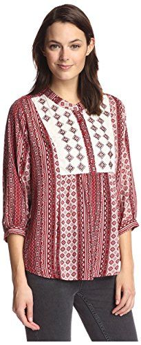 James  Erin Womens Embroidered Yoke Top Clay Multi XS * You can get additional details at the image link-affiliate link.
