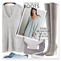 """Over-The-Knee Boots"" by allanaaa11 ❤ liked on Polyvore featuring Balmain and H&M"