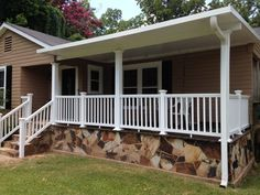 Custom manufactured home front porch with white railing, columns, handrail and white metal roof Mobile Home Landscaping, Mobile Home Deck, Mobile Home Living, Mobile Homes, Home Porch, House With Porch, Cottage House Plans, Cottage Homes, Building A Porch