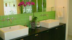 Lush Bamboo 3x6 Green Glass Subway Tile Bathroom Backsplash. Tile by Modwalls.