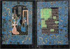 SCHWARZE STUNDENBUCH. Facsímil del manuscrito del siglo XV cuyo original se conserva en la Pierpont Morgan Library de Nueva York con la signatura M. 493. Conocido como Las horas negras, es uno de los pocos manuscritos en pergamino e iluminados que se teñían o pintaban de negro. Fue elaborado en Brujas alrededor de 1475, en el círculo del iluminador flamenco Willem Vrelant. Manuscrito digitalizado en: http://www.themorgan.org/collection/Black-Hours