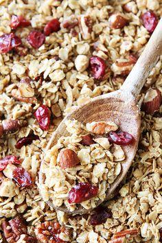 Brown Butter Maple Granola Recipe on twopeasandtheirpod.com. The BEST homemade granola recipe! #granola #recipe
