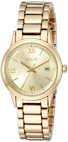 Relic Women's 'Dylan' Quartz Metal and Alloy Casual Watch, Color:Gold-Toned (Model: ZR34356). Band width: 14 mm. Case diameter: 27 mm. Analog-quartz Movement. Case Diameter: 27mm. Water Resistant To 99 Feet.