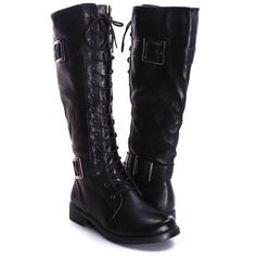 BLACK FAUX LEATHER KNEE HIGH COMBAT BOOTS ❤ liked on Polyvore
