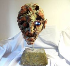 """""""Mystery man"""" dim: 56 cm x 32 cm x 29 cm weight : 20 kg material: modeling mass,grout,granite rock,iron"""