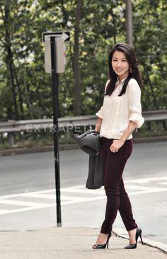 burgundy skinny cords and timeless feminine cream top