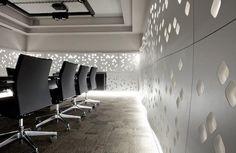 Wall panels design  Panele ścienne z łusek migdałów Conference Room, Wall, Furniture, Home Decor, Meeting Rooms, Walls, Interior Design, Home Interior Design, Arredamento