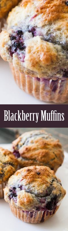 Rich, moist, luscious blackberry muffins! These muffins are a family favorite, filled with juicy berries! On http://SimplyRecipes.com