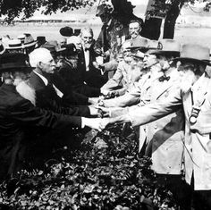 Civil War veterans from opposite sides meet on the 50th anniversary of The Battle of Gettysburg in 1913.