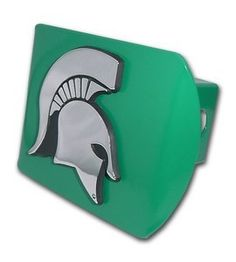 Michigan State Spartans Mascot Logo Green and Silver Chrome Trailer Hitch Cover is for the Michigan State University or NCAA, Michigan State Spartans sports fan and comes on a green background with large, silver Michigan State Spartans Mascot logo.