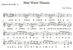 "Star Wars theme song Sheet Music 49 Third Street Music Recorder Ensemble ""star Wars"" First Star Wars Sheet Music, Sheet Music With Letters, Clarinet Sheet Music, Recorder Music, Piano Sheet Music, Recorder Notes, Recorder Karate, Violin Sheet, Violin Music"