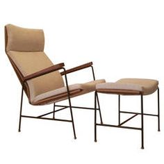 Rare Lounge Chair and Ottoman Designed by Arden Riddle, 1960s
