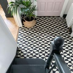 Entrance feature floor with beautiful black and white hexagon cement tiles from Mosaic Factory. The original geometric tile pattern was designed by and for interior stylist Amy Adams' home Hall Tiles, Tiled Hallway, Hallway Flooring, Black And White Hallway, Black And White Tiles, Black And White Flooring, Black White, Mosaic Del Sur, Porch Tile
