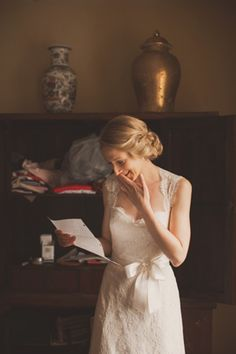 Historic Manor, Outdoor Refined Wedding, Rustic Waterside Ceremony, Country Barn. Bride reads fiance's love note. Nessa K Photography Woodlawn Estate Farm in Southern Maryland