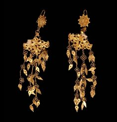 Indonesia - Sulawesi Islands, Wadjo | Earrings from the Bugi people. Part of a wedding costume.