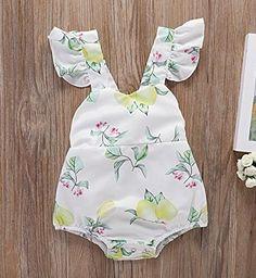 277e742b91ae PROBABY Toddler Girl Romper Ruffles Sleeveless Lemon Jumpsuit Summer  Bodysuit Sunsuit Outfit