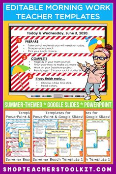 These summer-themed Editable PowerPoint and Google Slides Teacher Templates include space to type the day and date, reminders of what to do when entering the classroom, as well as 'must do' and 'may do' assignments. Remind your students of their morning assignments during arrival time by displaying them on your whiteboard or SMARTBoard. #teachertemplates #morningarrivalinstructions #editable #powerpoint #googleslides #summer