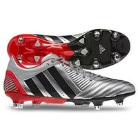 Predator Incurza XT SG Rugby Boots Metallic Silver/Black/Red, from Lovell Rugby, raises for your charity. Soccer Cleats, Sports Equipment, Predator, Rugby, Charity, Adidas Sneakers, Metallic, Xmas, Stripes