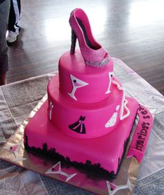 Cx n the city - Ribbon cake. enjoyed making this shoe. bday girl loved it. thanks CC members for help too. got ideas from this site and well as the net. Loved making the little frocks.