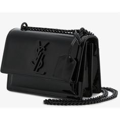 Saint Laurent Black patent Sunset Monogram bag (6.395 BRL) ❤ liked on Polyvore featuring bags, handbags, shoulder bags, bolsas, purses, monogram purse, purses crossbody, monogrammed crossbody purse, patent leather handbags and handbags crossbody