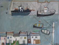 Cornish Harbour by Daphne McClure at Cornwall Contemporary art gallery, Penzance, Cornwall. Paintings I Love, Seascape Paintings, Modern Artists, Contemporary Artists, House Quilts, Naive Art, Artist Painting, Artist At Work, Art Gallery
