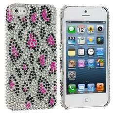 Hot Pink Leopard Bling Rhinestone Case Cover for Apple iPhone 5 / 5S