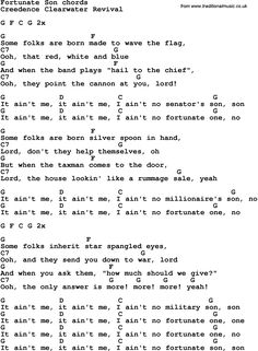 Song Lyrics with guitar chords for Fortunate Son