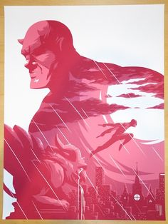 The Man Without Fear - silkscreen event poster (click image for more detail) Artist: Florey Venue: N/A Location: N/A Date: 2014 Edition: Numbered only Size: x Condition: Mint Notes: This silkscreen poster is on medium weight white paper. Marvel Dc, Marvel Comics, Stan Lee, Comic Books Art, Comic Art, Daredevil Art, Life Of Crime, Alternative Movie Posters, Beautiful Posters