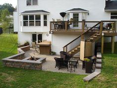 Outdoor Living Area with Deck and Patio St. Patio Under Decks, Decks And Porches, Back Patio, Building A Porch, Backyard Patio Designs, Pool Backyard, Diy Deck, Deck To Patio Ideas, Porch Ideas