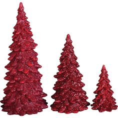 Dot & Bo Ruby Slipper Christmas Tree - Set of 3 ($24) ❤ liked on Polyvore featuring home, home decor, holiday decorations, christmas tree centerpiece, holiday home decor, holiday decor y holiday centerpieces