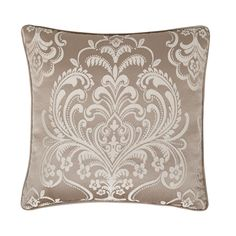 Five Queens Court Maureen Tan Damask Polyester 18-inch Decorative Throw Pillow (Square Pillow, 18x18, Tan), Size 18 x 18