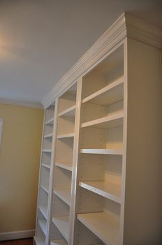 Add crown moulding to a bookcase for an instant custom built-in effect.