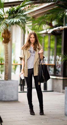 Big bag - black - cool street style - booties