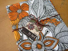 Doodle and Flowers orange  Tea Towel  Dish by valentinadesign, $15.00