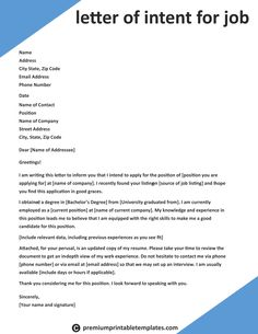 Letter of Intent for Job – Letter of intent for the job is as same as a resume cover letter. It is used to highlight the important information about your educational qualifications and skills… Job Letter, Job Cover Letter, Letter Of Intent, Writing A Cover Letter, Cover Letter For Resume, Cover Letter Template, Cover Letters, Job Application Letter Sample, Application Letter For Employment