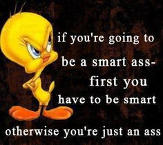 Be smart if you're gonna be a smartass. Otherwise, you're just an ass.  ~ You tell 'em!