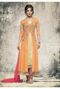 Wedding season can be a reason to explore new styles, trends and colors that you may not wear as often. Make a statement in this stylish cream and pink salwar kameez with embroidered orange long jacket style suit.