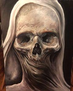 Animated Skull Original by Zack Dunn - Oil on Board Animated by Cousin Ike of Steampunkd Studio Arte Horror, Horror Art, Totenkopf Tattoos, Rock Poster, Skull Pictures, Skull Artwork, Skull Wallpaper, Macabre Art, Creepy Art