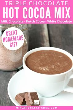 World's best hot chocolate with zero hard work? YES! Milk chocolate, white chocolate and Dutch cocoa come together in this classic and decadent hot chocolate mix perfect for every day drinking and gifts. Best of all? You can make an entire batch of mix in six minutes! #cocoa #chocolate #hotdrink #homemade #gift Alcohol Recipes, Drink Recipes, Healthy Dinner Recipes, Delicious Recipes, Easy Recipes, Hot Chocolate Mix, Chocolate Recipes, White Chocolate, Easy Summer Desserts