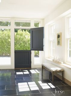 Transitional White Entry with Dutch Door