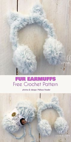 Fur Earmuffs Ear Warmers Free Crochet Pattern Learn the rudiments of how to needlework (generic term Mode Crochet, Crochet Geek, Crochet Gifts, Quick Crochet, Crochet Yarn, Crochet Headbands, Crochet Clothes, Beginner Crochet Projects, Crochet For Beginners