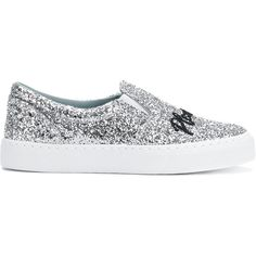 Chiara Ferragni Chiara Suite slip-on sneakers (€255) ❤ liked on Polyvore featuring shoes, sneakers, metallic, leather slip on sneakers, black slip-on sneakers, metallic sneakers, glitter slip on sneakers and leather slip on shoes
