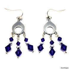 Oxidized Silver Purple Crystal Chandelier Earrings by ZaverDesigns
