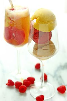 A trio of delicious sorbets in peach, mango and raspberry become the perfect base for a fun summer sorbet float.