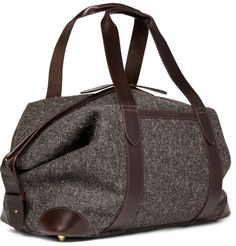 Tweed and leather carryall - Cherchbi