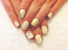 Nude with gold and silver jewelled nails! Nails, Silver, Gold, Nude, Beauty, Finger Nails, Ongles, Beauty Illustration, Nail
