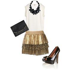 gold sequin skirt :)